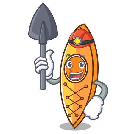 Miner canoe mascot cartoon style vector illustration Illustration