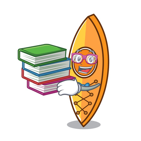 Student with book canoe mascot cartoon style vector illustration