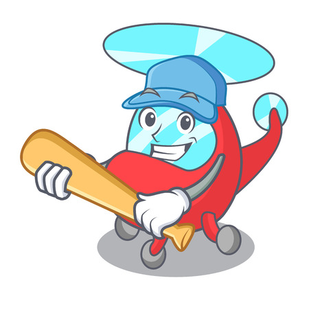 Playing baseball helicopter character cartoon style vector illustration