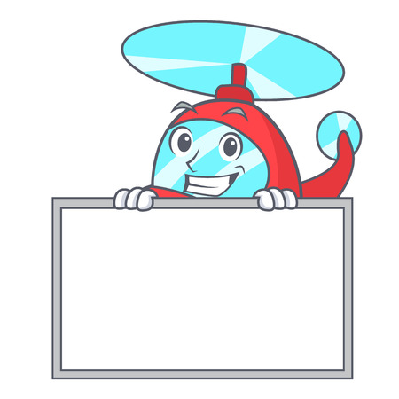 Grinning with board helicopter character cartoon style vector illustration