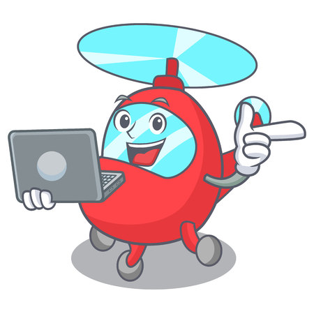 With laptop helicopter character cartoon style vector illustration