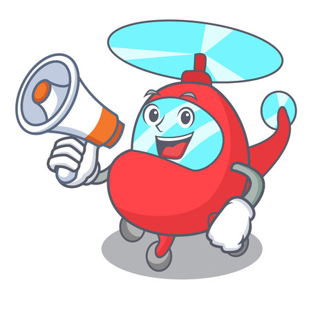 With megaphone helicopter character cartoon style vector illustration