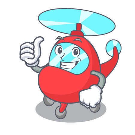 Thumbs up helicopter character cartoon style vector illustration