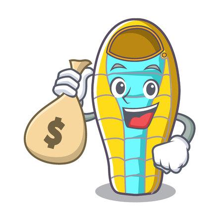With money bag sleeping bad character cartoon vector illustration Ilustração