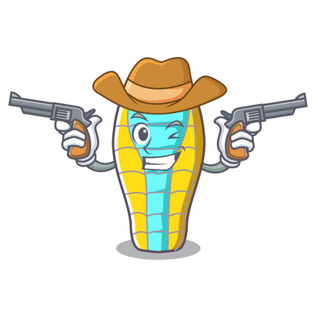 Cowboy sleeping bad character cartoon vector illustration Ilustração