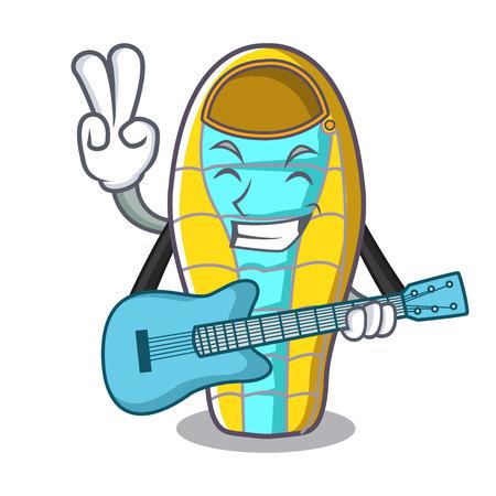 With guitar sleeping bad mascot cartoon