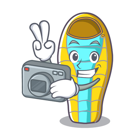 Photographer sleeping bad mascot cartoon