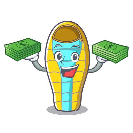 With money bag sleeping bad mascot cartoon