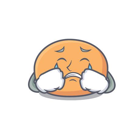 Crying mochi mascot cartoon style
