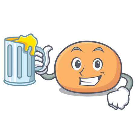 With beer mochi mascot cartoon style