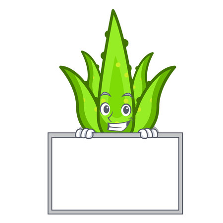 Grinning with board aloevera character cartoon style vector illustration