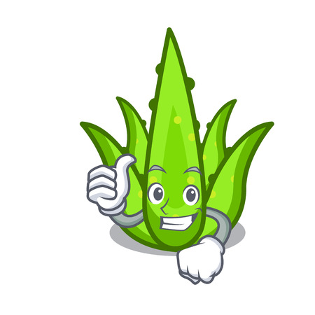 Thumbs up aloevera character cartoon style vector illustration Illustration