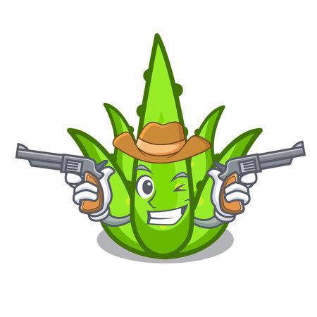 Cowboy aloevera character cartoon style vector illustration