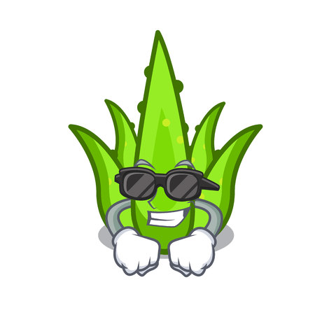 Super cool aloevera character cartoon style vector illustration