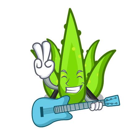 With guitar aloevera character cartoon style vector illustration