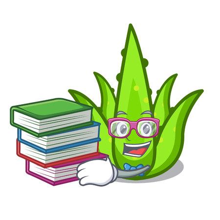 Student with book aloevera mascot cartoon style vector illustration