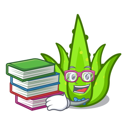 Student with book aloevera mascot cartoon style vector illustration