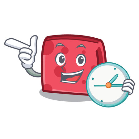 With clock napkin character cartoon style vector illustration  イラスト・ベクター素材
