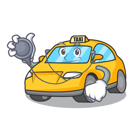 Doctor taxi character cartoon style vector illustration