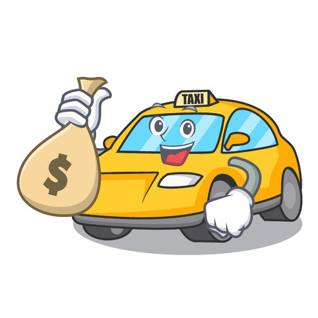 With money bag taxi character cartoon style vector illustration Illustration