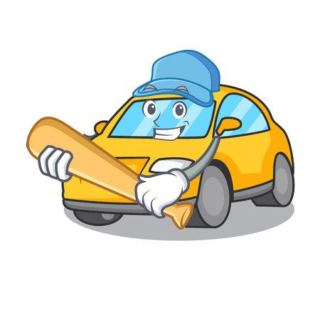 Playing baseball taxi character cartoon style vector illustration Illustration