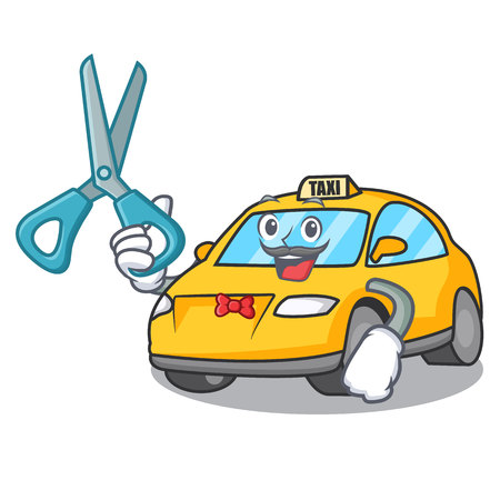 Barber taxi character cartoon style vector illustration