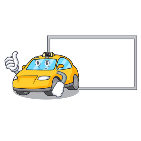 Thumbs up with board taxi character cartoon style vector illustration