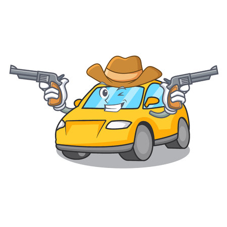 Cowboy taxi character cartoon style vector illustration Illustration