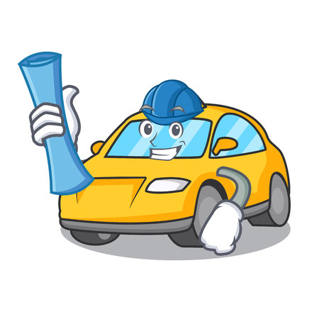 Architect taxi character cartoon style vector illustration