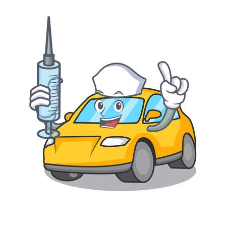 Nurse taxi character cartoon style vector illustration Illustration