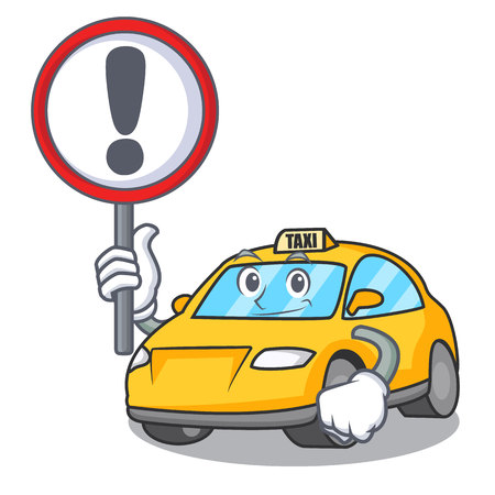 With sign taxi character cartoon style vector illustration Illustration