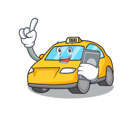 With phone taxi character cartoon style vector illustration