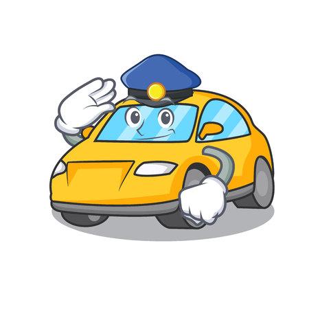 Police taxi character cartoon style vector illustration Vettoriali