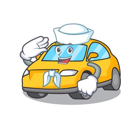 Sailor taxi character cartoon style vector illustration