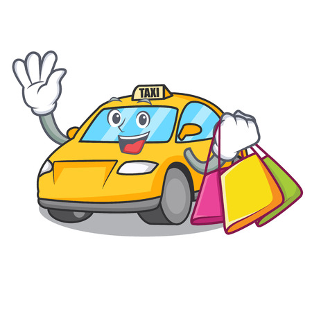 Shopping taxi character cartoon style vector illustration
