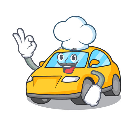 Chef taxi character cartoon style vector illustration