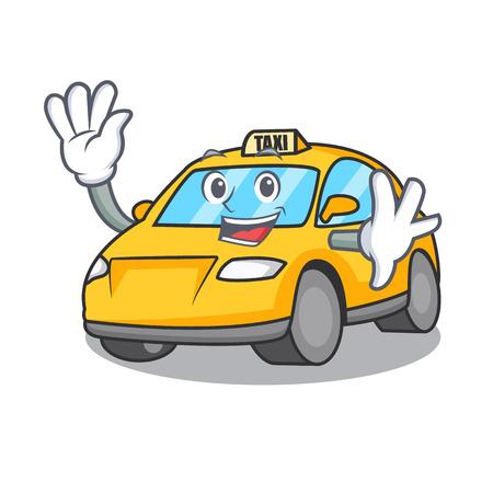 Waving taxi character cartoon style vector illustration