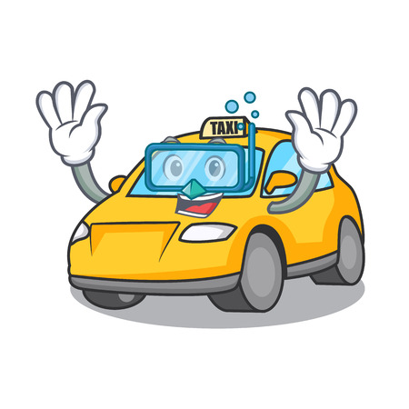 Diving taxi character cartoon style vector illustration Illustration