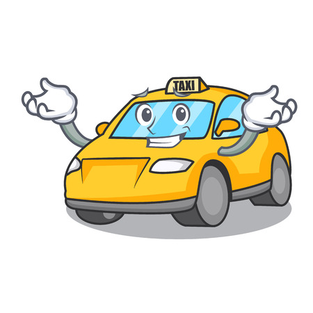 Grinning taxi character cartoon style vector illustration Illustration