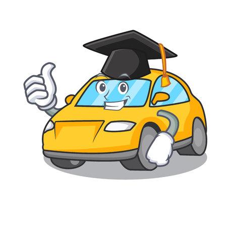 Graduation taxi character cartoon style vector illustration