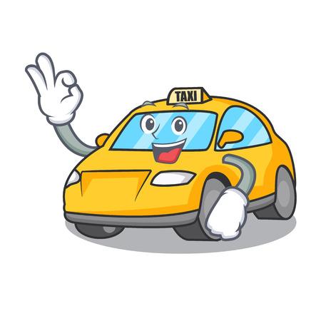 Okay taxi character cartoon style vector illustration