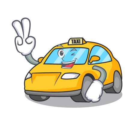 Two finger taxi character cartoon style vector illustration Illustration