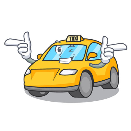 Wink taxi character cartoon style vector illustration