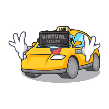 Virtual reality taxi character mascot style vector illustration Illustration