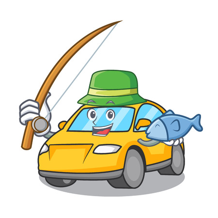 Fishing taxi character mascot style vector illustration
