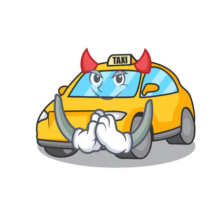 Devil taxi character mascot style vector illustration