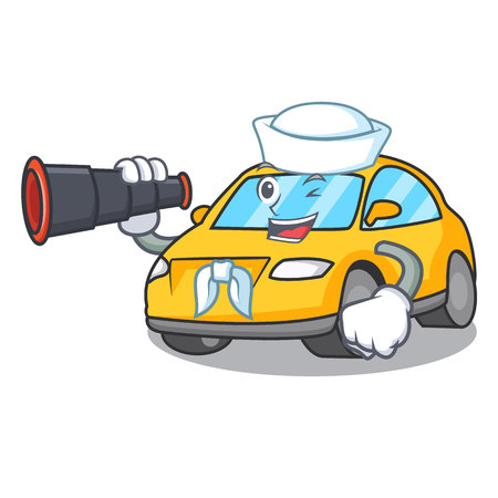 Sailor with binocular taxi character mascot style vector illustration