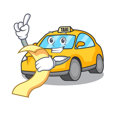 With menu taxi character mascot style vector illustration