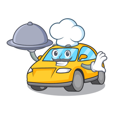 Chef with food taxi character mascot style vector illustration