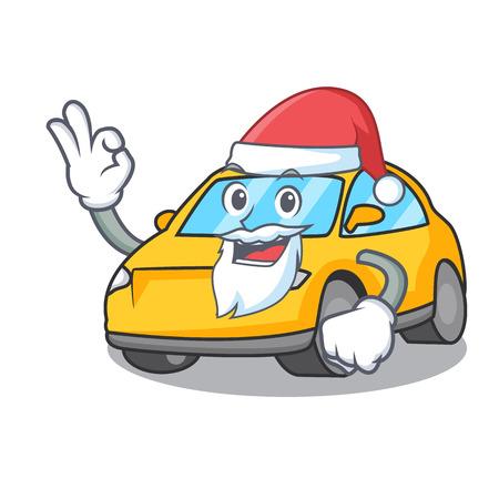 Santa taxi character mascot style vector illustration